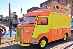 Citroen H Van, Liverpool (Jungle Jack Movements (ferroequinologist) all righ) Tags: panini cheese toast citroen h van yellow orange bright food stall truck peddler sales albert dock liverpool england united kingdom great britain gb uk british tuscker take out way lunch tourist beatles snack car auto automobile vehicle sedan motor saloon classic collectible veteran vintage rare beautiful restored french chrome polish show shine collectable old historic history
