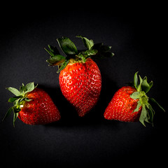 Project 52-49: Fruit (albertobastos) Tags: fruit strawberry strawberries closeup macro black background studio color red project52