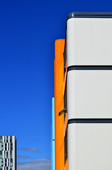 Fresh air (James_D_Images) Tags: building open window perspective blue sky clouds abstract windows white orange architecture