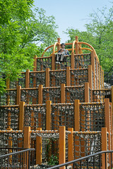 father and daughter (Chichika) Tags: park family blue sky tree green girl playground yellow kids child father daughter equipment jungle gym chiharu