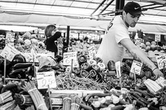 / venice / (aubreyrose) Tags: travel venice blackandwhite bw italy food monochrome canal blackwhite europe market fishmarket mercato rialto pescheria mercadodesanmiguel