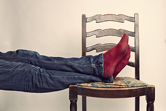 Day 153 (Michael Rozycki) Tags: red portrait white feet up socks self canon project chair personal jeans 7d trousers 1755
