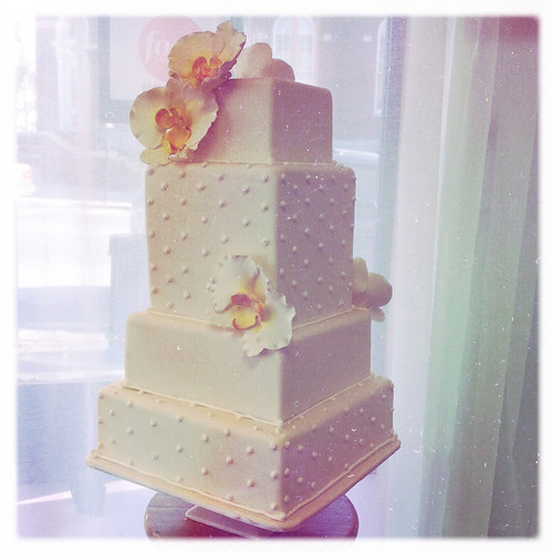 Square Swiss Dots and Sugar Orchid Wedding Cake