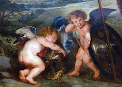 Rubens, The Presentation of the Portrait, detail with putti