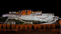 Ночной вид дворца Потала в Лхасе, Тибет