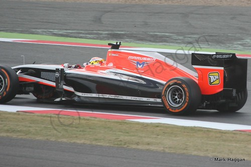 Jules Bianchi in his Marussia during Free Practice 2 at the 2014 British Grand Prix