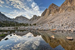 Morning Reflections in the Kearsarge Lakes (Sierralara) Tags: california park morning camping light sunset wild usa sun mountain mountains beauty clouds america sunrise john outdoors photography dawn evening nikon scenery adams dusk hiking united nevada canyon sierra climbing kings national backpacking states wilderness sierras discovery range muir kingscanyon discover ansel kearsargelakes sierralara