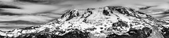 Mt. Rainier pano  from Gobbler's Knob (TroyMasonPhotography) Tags: blackandwhite panorama clouds nationalpark hike lakegeorge backpack mtrainier westsideroad longmire gobblersknob troymason troymasonphotography troytroymasonphotographycom