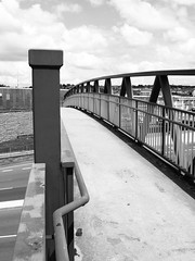 Footbridge (chrisinplymouth) Tags: uk bridge england monochrome metal footbridge plymouth pedestrian devon walkway railings plymgrp cw69x chrisinplymouth