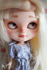 Eyebrows! (Cyrielle 1) Tags: cute girl doll makeup lips plastic blond blythe lovely icy custom hybrid takara eyebrows eyelids eyechips cyrielle pullrings icydoll