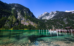 (JiaSiDingLin) Tags: blue sky white lake snow mountains green water clouds river germany landscape boat colorful europe crystal      knigssee