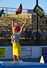 Retro flag girl at the Steel In Motion drags (Thumpr455) Tags: auto show pink car vintage nikon automobile union may southcarolina babe retro nostalgia d800 dragrace 2014 gridgirl promogirl flaggirl worldcars afnikkor80200mmf28d steelinmotion unioncountydragway