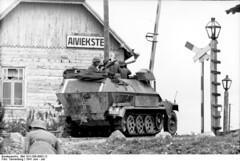 German SdKfz. 251/1 halftrack vehicle at a rail crossing, Aiviekstes, Latvia, Jun 1941