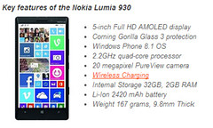 Key features of the Lumia 930