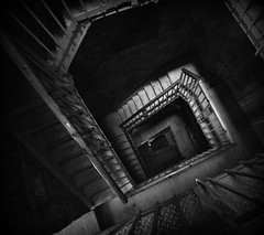 Project Flickr - Abstract Architecture (charlottz - Charlotte G Photography) Tags: blackandwhite abstract building london lines architecture stairs spiral fire nikon shadows escape interior deep angles down monotone staircase depth handrails projectflickr d5100