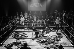 montreal iws 2 (theLionel411) Tags: people blackandwhite bw white canada black canon dark fight noir quebec montreal wrestling ring match inside ropes wrestlers blanc edit lightroom iws 1855kitlens canont3