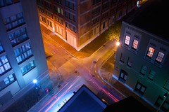 X (SkylerBrown) Tags: city longexposure urban usa cold building architecture night colorful warm pretty traffic neworleans midnight intersection