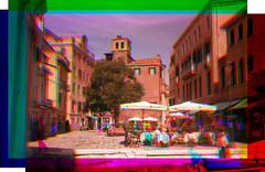 Campo Santa Maria Nova - trichrome with Harris shutter technique (pho-Tony) Tags: old blue venice red color colour green japan 35mm japanese three rangefinder filter lee shutter harris 135 filters electronic technicolor rgb effect range finder glitch zuiko f28 sergey ecr combination compact separation archaic colorize 128 technicolour threecolor trichrome colourise 42mm olympus35 threecolour ezuiko trichromy trichromie harrisshuttereffect prokudingorsky olympus35ecr sergeyprokudingorsky filmrolleirpx400