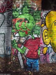Green Man (peterphotographic) Tags: p3130088edwm greenman olympus epl5 microfourthirds ©peterhall parklandwalk haringey northlondon london england uk britain city urban graffitti streetart green red art walk