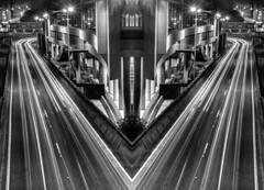 Surreal City (Martin Snicer Photography) Tags: bw blackandwhite longexposure night city creative atistic fine art photography canon 6d 50mm niftyfifty composition mirrorimage lights f22 martinsnicer photographer surreal surrealcity