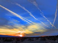 Ghost Writers in the Sky (splinx1) Tags: art ghostwriters poleout sunset cloud contrail dusktrail sun california desert canon canonart chdk canonpowershotelph330hs hdr fakation depoled