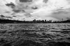 Seattle Skyline (EXPLORED) (mfhiatt) Tags: dscf06680317jpg skyline seattle blackandwhite water lake 365the2017edition 3652017 day83365 24mar17 lakeunion