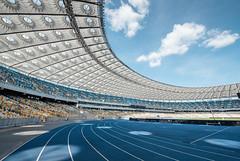 Blue stadium (Andrey Baydak) Tags: stadium wideangle nscolympic нсколімпійський 1424 стадіон стадион runway sky himmel blue gates kyiv киев київ symmetry