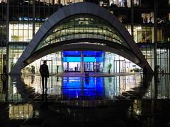 London's Other Eye IV (Douguerreotype) Tags: uk gb britain british england london city urban architecture buildings night people street rain wet reflection blue silhouette dark lights