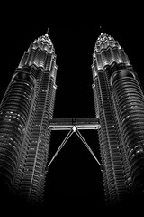 Twin Tower at night (haqiqimeraat) Tags: twintower petronastower malaysia kualalumpur kl nikon 2485 landscape buildings building architecture artistic monochrome night mono bw blackwhite perspective abstract shadow contrast art