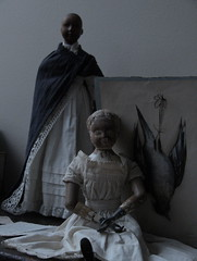 "ALIS_wood ""Joel Ellis doll""_1873. LUCE_wood ""Door of Hope doll""_1901.  Memento Mori_ Jules Laugeval_1857 (leaf whispers) Tags: joelellis doll wooddoll carvedwood jointed antique nakeddoll nudedoll beautyindecay spiritdoll haunteddoll oldtoy antiquetoy joelellisdoll wooden springfield maker artist light poupée ancienne bois obsolete articulated blond blonde joel ellis erotic erotica fetish fétiche interesting unusual unique mementomori naturemorte dead bird painting drawing watercolour watercolor dessin chasse hunting buy auction kink sale folkart hand painted decay decayed entropy"