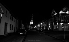 Leaning Church (MelanieRobertsonPhotography) Tags: leaning tower leaningtower church architecture blackandwhite blackandwhitephotography city town nighttime lights nofilter germany oldtown black white
