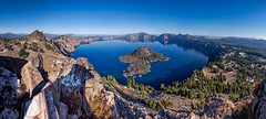 Crater Lake and Wizard Island, Oregon (www.clineriverphotography.com) Tags: usa landscape aspect panorama goldenhour water craterlakenationalpark wizardisland lake location 2013 oregon light