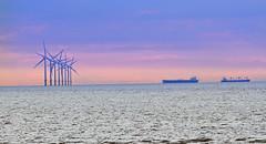 Ships passing (Lee1885) Tags: coast boat ship windfarm wirral newbrighton