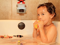 1 of 365 (LaWrence Charity Photography) Tags: boy portrait white black mixed model texas child tx blueeyes rubber ducky biracial bathtime curlyhair babyboy killeen canoneos7d lawrencecharityphotography