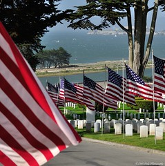 San Francisco National Cemetery inside the Presidio (Little Italy Photography) Tags: nikond90 nikon nikon18105mmf3556gedifafsvrnikkorzoomlens nikondigitalslr sanfrancisco sites pointsofinterest landmarks park militaryhistory chrissyfield marina goldengatebridge sanfranciscobay kitesurfing parasurfing windsurfing wind sea surf sand beach pacific bay presidio memorialday ships alcatraz cementaries headstones flags hills forts fortbarry pointbonita cruiseships suspensionbridge filters nikon70300mmf4556gedifafsvrnikkorzoomlens projectweather weather clearskies partlycloudy windy thepresido militaryfort nationalregister