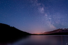 Pyramid Lake (Empty Quarter) Tags: park longexposure sky mountain lake canada mountains water night forest way stars rockies star nikon jasper glow pyramid canadian mount galaxy national alberta range milky edith f4 cavell 1635 d600