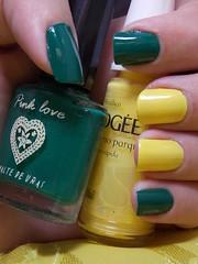 C50 - Pink Love e Domingo no Parque - L'apogée (Natalia Breda) Tags: verde amarelo pinklove lapogée esmalteimportado esmaltenacional