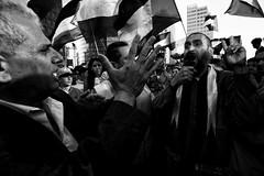 . (Thorsten Strasas) Tags: signs berlin schilder de deutschland israel palestine flags potsdamerplatz banners emotions speech mitte rede gaza flaggen transparente hamas fahnen schwarzweis palaestina
