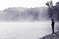 Into The Mist (AlyKPhoto) Tags: trees blackandwhite bw mist lake mountains cold nature fog contrast reflections outside outdoors dramatic surreal eerie arkansas wilderness outachita