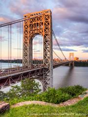 GWB Sunset (P7241127-1_28-2_29-3_30-4_31-5_tonemapped) (Michael.Lee.Pics.NYC) Tags: park bridge blue sunset sky newyork skyline clouds river george washington newjersey traffic hudson interstate hdr palisades