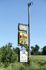 Porky's (gabi-h) Tags: blue summer sky green sign vintage newyorkstate porkys remeber gabih