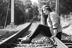 what if... (asier.quintana) Tags: bw woman white black blanco girl train tren nikon mood chica sad camino path expression negro rail bn via triste teen pensar vias d60 pensativa amorebieta