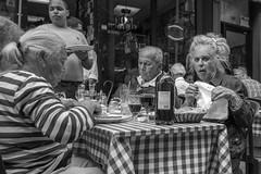 Dinner Theatre (Gisele Duprez) Tags: nyc blackandwhite italian candid streetphotography pasta littleitaly