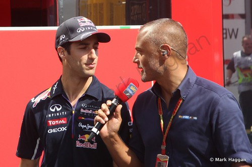 Daniel Ricciardo is interviewed after qualifying for the 2014 German Grand Prix