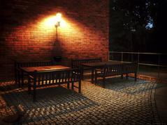 IMG_0421 (Cyrus II) Tags: light sunset summer lamp night bench campus table sweden stockholm sverige sommar kth tomteboda swe maskin kungligatekniskahgskolan iphone5