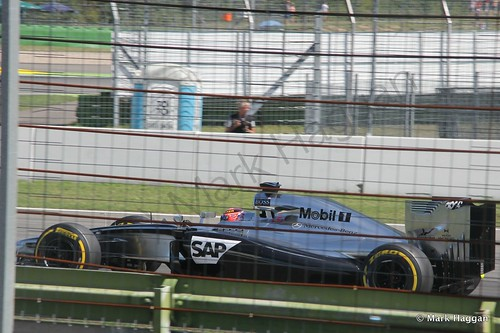 Jenson Button in his McLaren during Free Practice 2 at the 2014 German Grand Prix