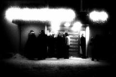 new year's cig (asketoner) Tags: street door new eve winter party vacation snow blur club night outside island iceland dance shadows open newyear smoking ballroom rest years peninsula smokers snaefellsness olafsvik isklandi
