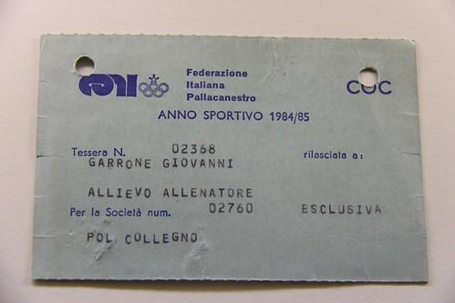 Tessera Allenatore Gianni Garrone 84-85