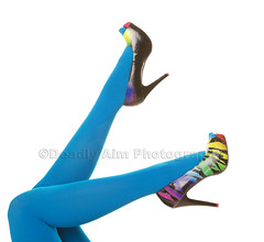 Fashion Fun (Brenda Carson_songbird839) Tags: pink blue black sexy green feet stockings fashion yellow fun japanese dance clothing rainbow women shoes colorful pattern highheels purple legs bright turquoise pair magenta style tights whitebackground zebra heels pantyhose kicking isolated striped apparel nylons hotpink leotards animalprint