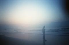 (Emily Savill) Tags: ocean city morning shadow mist color colour film beach sc fog analog sunrise garden gold freedom minolta kodak d south tide iso 400 figure carolina analogue asa af q 35 sillhouette 6am qd 35af
